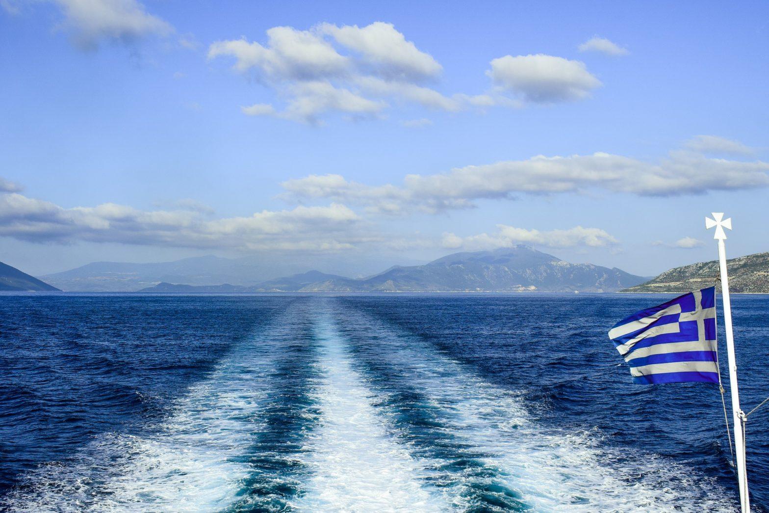 Greek flag on back of ferry